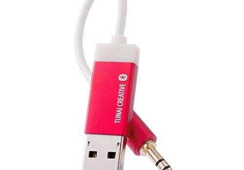 Firefly: Der kleinste Bluetooth-Receiver der Welt mit Einem 3,5mm AUX-Anschluss für klares, schnurloses Streamen von Musik Auto-Pack, Feuerrot