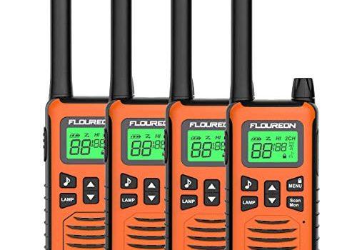 FLOUREON 4X PMR Funkgeräte Set 16 Kanäle Walkie Talkies 2-Wege Radio Walki Talki Funkhandy Interphone mit LC-Display 5KM, Gelb