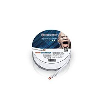 Oehlbach Speaker Wire SP-7 l Stereo HI-FI Lautsprecherkabel l Boxenkabel mit OFC sauerstofffreies Kupfer 2×0,75 mm² l Mini Spule Lautsprecher Kabel l Weiß – 10 m