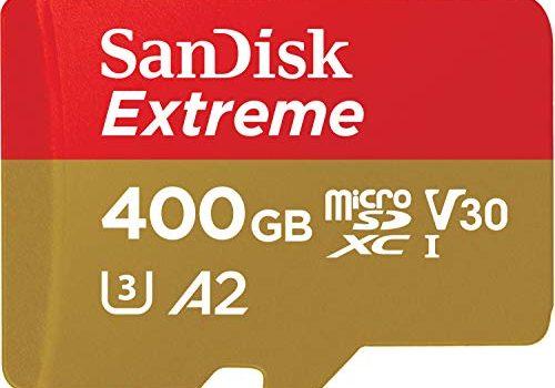 SanDisk Extreme 400GB microSDXC Class 10 Speicherkarte mit SD-Adapter, Gold/Rot