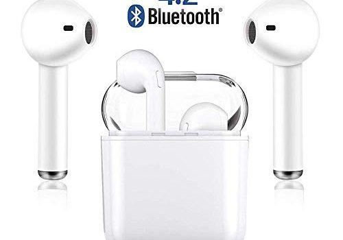 JYHDZSW Bluetooth-Headsets, kabellose Headsets Headset Bluetooth 4.2 InEar-Kopfhörer Ohrhörer Drahtloses Stereo-In-Ear-Freisprech-Mikrofon für iPad, Samsung, und Android Geräte white