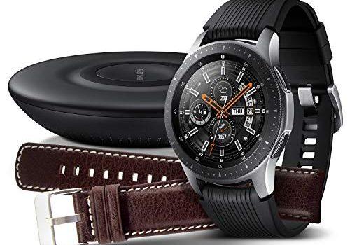 Samsung Galaxy Watch 46mm Bundle, silber + Charger und Lederarmband Exklusiv bei Amazon