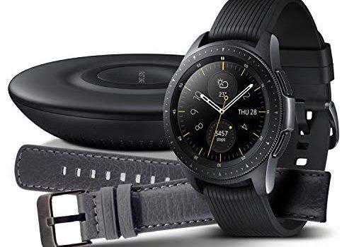 Samsung Galaxy Watch 42mm Bundle, schwarz + Charger und Lederarmband Exklusiv bei Amazon