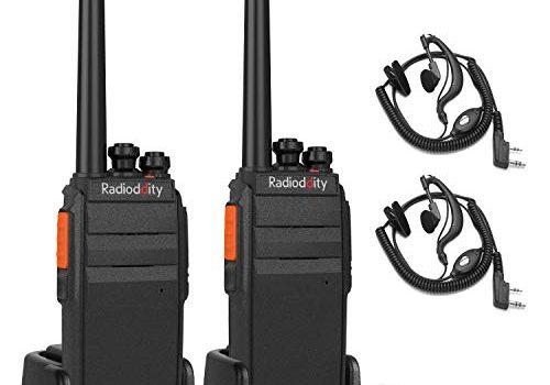 Radioddity R2 PMR446 Funkgeräte Walkie Talkie Set 16 Kanäle Walki Talki mit Headset 1 Paar