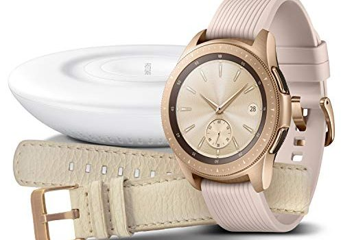 Samsung Galaxy Watch 42mm Bundle, rose gold + Charger und Lederarmband Exklusiv bei Amazon