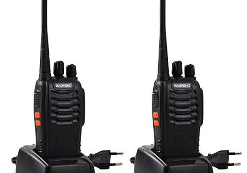 Tyhbelle BF Funkgeräte Set, Walkie Talkie 16 Kanäle 5KM Reichweite eingebauter LED-Taschenlampe 16 Kanäle Sprechfunkgerät mit Headset und Akkus 2er Pack