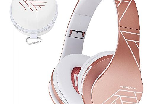 PowerLocus Bluetooth Over-Ear Kopfhörer, Kabellos Stereo Faltbare Kopfhörer Kabellose und Kabel-Kopfhörer mit Integriertem Mikrofon, Micro SD/TF, FM für Handys/iPad/Laptops & PC Rose Gold