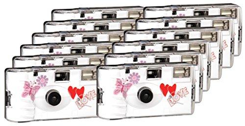 TopShot Love Hearts red Einwegkamera / Hochzeitskamera 27 Fotos, Blitz, 12-er Pack