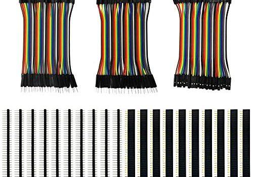 KeeYees 120pcs 3×10 cm Jumper Wire Drahtbrücken Set 40pin Male zu Female, Male zu Male, Female zu Female mit 20pcs Kopfleisten Single Reihe 40pin PCB Stiftleiste 2,54mm für Arduino Raspberry Pi