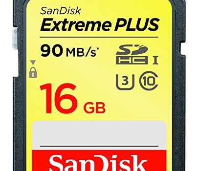 SanDisk Extreme Plus 16GB SDHC UHS-I U3 memory card, up to 90MB/s read