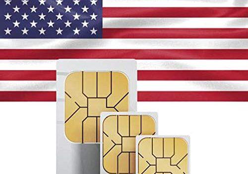 Unbegrenzte Anrufe und Texte – Prepaid-SIM-Karte – Unbegrenzte Internet-Daten USA, 5GB Roaming Kanada und Mexiko
