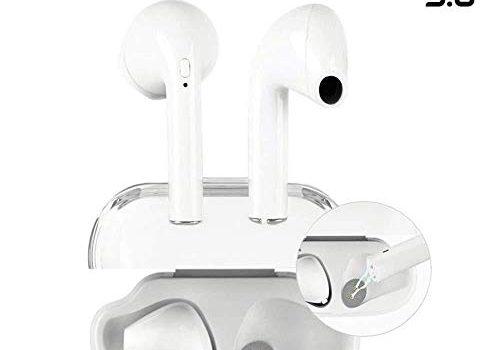 Bluetooth-Kopfhörer, Mini-Bluetooth-Kopfhörer, kabellos, staubdicht, schweißfest, Geräuschunterdrückung, unsichtbares Mikrofon, für iOS und Android Smartphones Weiß -2
