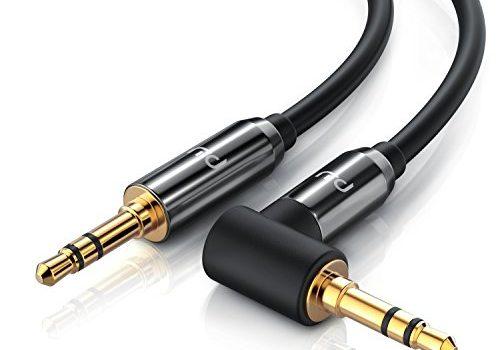 CSL – 5m Audio Klinkenkabel 90 Grad gewinkelt Verbindungskabel für AUX Eingänge | 90° Winkelstecker | Voll-Metallstecker | passgenau | 3,5mm Audiokabel HQ Premium Series