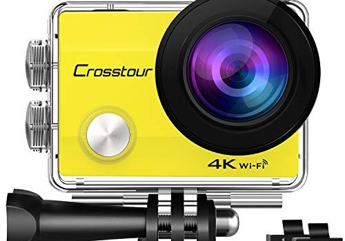 Crosstour Action Cam WiFi Sports Aktion Kamera 4K Ultra HD 2″ LCD Unterwasserkamera 30M 170 °Ultra-Weitwinkel mit 2 1050mAh Batterien und Zubehör-Kits für RadfahrenCT8000-Y
