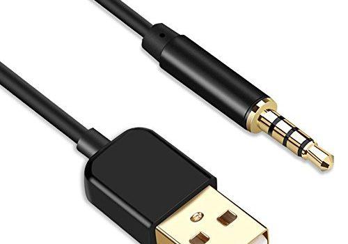 AGPTEK 3,5 mm Klinke auf USB, Datenkabel mit USB 2,0 Buchse für Laden und Datenübertragung, 2 in 1 Aux Kabel für MP3, MP4 Player, iPod, Diktiergerät, BT Kopfhörer, Schwarz
