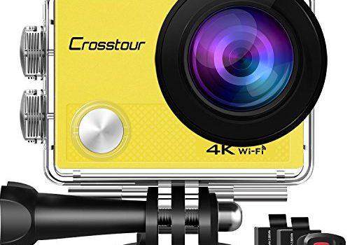 Crosstour Action Cam 4K WiFi 16MP Camera Ultra HD 30M Unterwasserkamera 2″ LCD mit 2 Wiederaufladbare 1050mAh Batterien Gelb