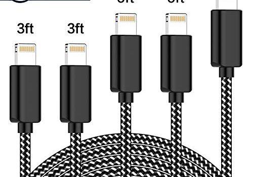 TNSO Phone Kabel, 5Pack 3/3/6/6/10 FT Nylon Phone Kabel MFi Zertifiziert für iPhone 8/8 Plus 7/7 Plus 6S / 6S Plus 6/6 Plus 5S 5C 5, Pad Air/Air 2, Pad Mini 2/3/4