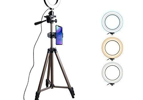 Tryone Ringlicht Ringleuchte Handy Stativ – Live Stream Ständer Dreibeinstativ mit 6 Zoll dimmbare LED Ringlicht für YouTube Vine Selfie oder Makeup