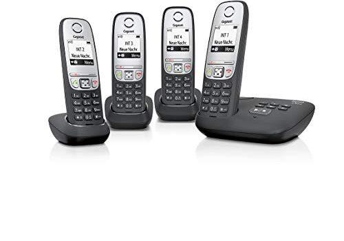 Gigaset A415A Quattro-/ Schnurloses-/ Dect-/ Analog Telefon 4 Mobilteile mit Grafik Display, mit Anrufbeantworter und Freisprechfunktion schwarz