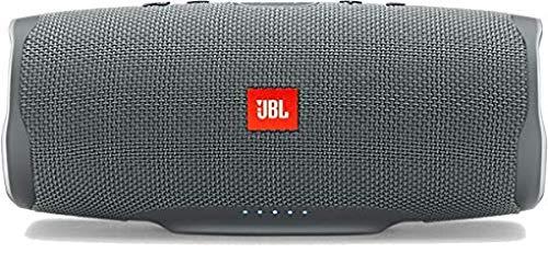 JBL Charge 4 Bluetooth-Lautsprecher in Grau – Wasserfeste, portable Boombox mit integrierter Powerbank – Mit nur einer Akku-Ladung bis zu 20 Stunden kabellos Musik streamen