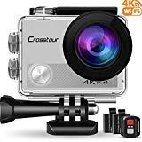 Crosstour Action Cam 4K Wifi 16MP Camera Ultra HD 30M Unterwasserkamera 170°Ultra-Weitwinkel mit 2 Wiederaufladbare 1050mAh Batterien Silber