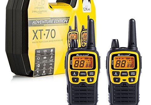 Midland XT70 Adventure PMR-Walkie Talkie Kofferset, 2x Funkgeräte mit bis zu 12 km Reichweite, mit LCD-Display und Micro-USB-Ladebuchse, für Kinder und Outdoor