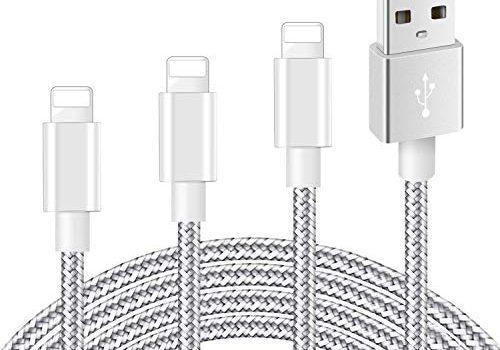 Mitesbony Phone Ladekabel 3 Stück 1+2+3m Nylon Geflochten Phone Kabel CE Zertifiziert Kompatibel mit XS/X/ 8/8 Plus/ 7/7 Plus/ 6S/ 6/ 5S/ 5C/ SE/ 5,Pad Mini/Air Silber Greu
