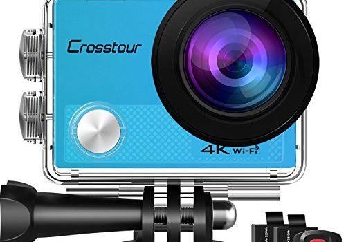 Crosstour Action Cam 4K Wifi 16MP Camera Ultra HD 30M Unterwasserkamera 2″ LCD mit 2 Wiederaufladbare 1050mAh Batterien Blau