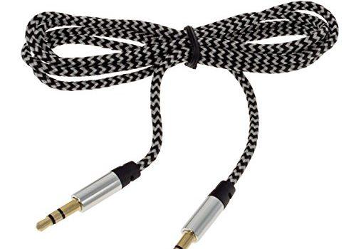 Smartfox 1m AUX 3,5mm Klinkenkabel Kabel vergoldet mit Knickschutz Stereo Audio Klinke auf Klinke für Kopfhörer iPod iPhone iPad Stereoanlage Autoradio in Silber/schwarz