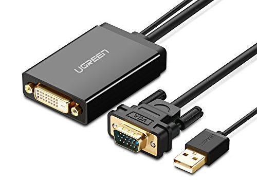 UGREEN VGA DVI Adapter VGA auf DVI D Adapterkabel VGA Stecker zu DVI 24+1 Buchse Konverter 1080P Full HD mit 50cm USB Stromkabel geeignet für DVD, Laptop, PC, HDTV, Projektor, Monitor usw.