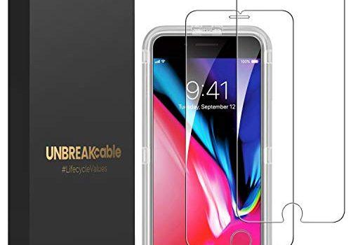 UNBREAKcable 2 Stück Panzerglas Schutzfolie für iPhone 8/iPhone 7/6s/6, 2,5D Double Defense Displayschutzfolie mit Positionierhilfe für iPhone 8/7/6s/6, 4,7 Zoll, Kratzfest, Anti-Fingerprint