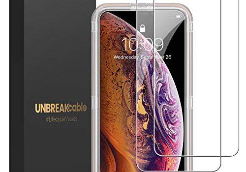 UNBREAKcable Panzerglas 2er Pack Panzerglasfolie Kompatibel mit iPhone XS/X/10 5.8 Zoll, 2.5D Double Defense Series Displayschutzfolie, Kratzfest, Anti-Fingerprint, blasenfrei und kofferfreundlich