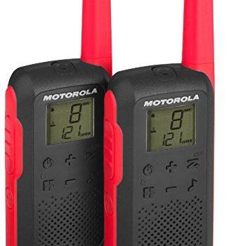 Motorola Talkabout T62 PMR-Funkgeräte 2er Set, PMR446, 16 Kanäle und 121 Codes, Reichweite 8 km rot