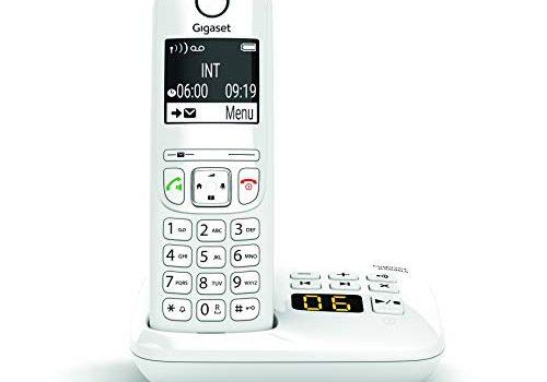 DECT-Telefon mit Freisprechfunktion, großes Display, große Tasten – Schnurlostelefon mit Anrufbeantworter – Festnetztelefon, weiß – Gigaset AS690A
