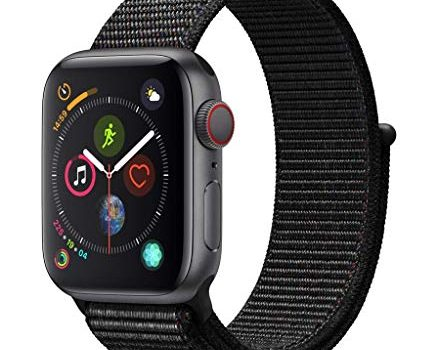 Apple Watch Series 4 GPS + Cellular, 40mm Aluminiumgehäuse, Space Grau, mit Sport Loop, Schwarz