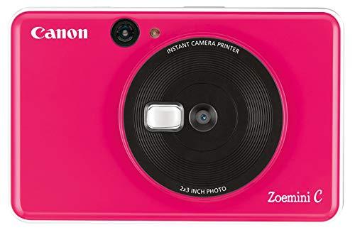 Canon Zoemini C digitale 5 MP Sofortbildkamera Sucher, Blitzlicht, Micro-SD Kartenslot, Selfie Spiegel 11×8 mm, 5 x 7,6 cm Aufkleber, ZINK-Druck tintenfrei, bubble gum pink