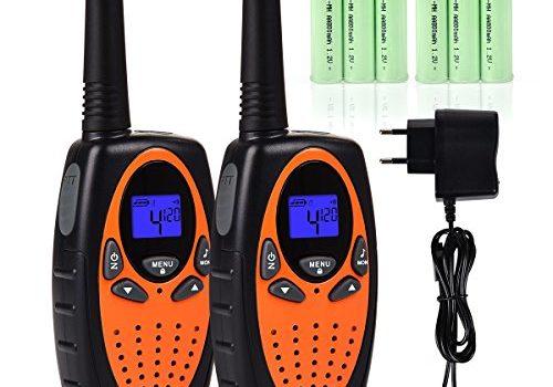 Tyhbelle 2er Funkgerät Walkie Talkie für Kinder PMR446 lizenzfrei 8 Kanäle mit LCD-Display 2er-Orange mit akku und Ladekabel