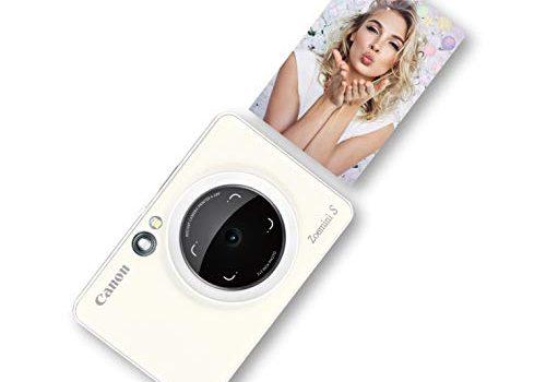 Canon Zoemini S digitale 8 MP Sofortbildkamera und Mini-Fotodrucker Sucher, Ringblitz/ LED-Blitz, Micro-SD Kartenslot, Canon Mini Print App, ZINK-Druck tintenfrei, pearl white