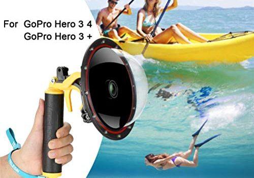 Für GoPro Dome Port Hero 4 Hero 3 3+, Unterwassergehäuse mit Triggerpistole und Floating Grip Fotografie Gegenlichtblende Wasserdichtes Gehäuse für GoPro Zubehör