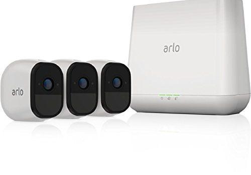 Arlo Pro Smart Home 3 HD-Überwachungskameras und Sicherheitssystem 100% kabellos, 720p HD, 130 Grad Blickwinkel, WLAN, Nachtsicht, Indoor/Outdoor, 100 dB Sirene weiß, VMS4330
