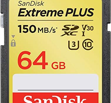 SanDisk Extreme Plus 64GB SDXC Memory Card up to 150MB/s, Class 10, U3, V30