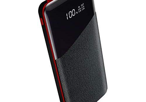 Yutre Powerbank, Tragbares Ladegerät 24000mAh Handy-Ladegerät Externe Batterie mit LCD-Digitalanzeige, 2 Ausgang mit Gesamt 3.1A Externer Akku für Smartphones, Tablets und andere Geräte, Rot