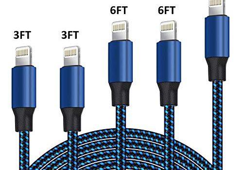 WUXIAN MFi Zertifiziert – Phone Ladekabel 5 Pack 3/3/6/6/10FT USB Nylon Data Kabel für iPhone XS/X/XR/Max/8/8Plus/7/7Plus/6 Plus/6/5/5S/6s,Pad Mini/Air,Pod 5/7