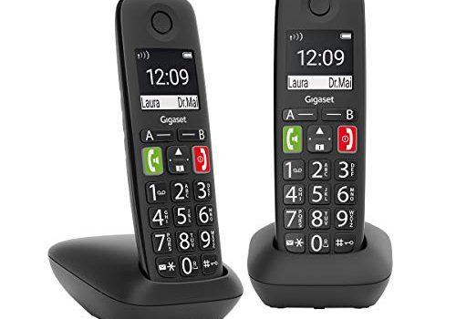 Gigaset E290 Duo – 2 schnurlose Festnetztelefone ohne Anrufbeantworter – DECT Telefone mit großen Tasten und großem Display – Analoge Telefone, schwarz