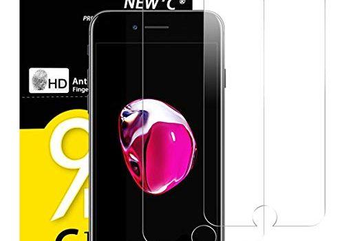 NEW'C PanzerglasFolie Schutzfolie für iPhone 7, iPhone 8, 2 Stück Frei von Kratzern Fingabdrücken und Öl, 9H Härte, HD Displayschutzfolie, kompatibeliPhone 7, iPhone 8