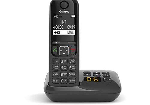 DECT-Telefon mit Freisprechfunktion, großes Display und großen Tasten – Festnetztelefon, schwarz – Schnurloses Telefon mit Anrufbeantworter – Gigaset AS690A