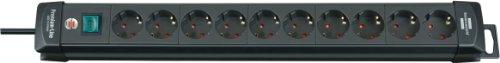 Brennenstuhl Premium-Line, Steckdosenleiste 10-fach Steckerleiste mit Schalter und 3m Kabel -45° Winkel der Schutzkontakt-Steckdosen Farbe: schwarz
