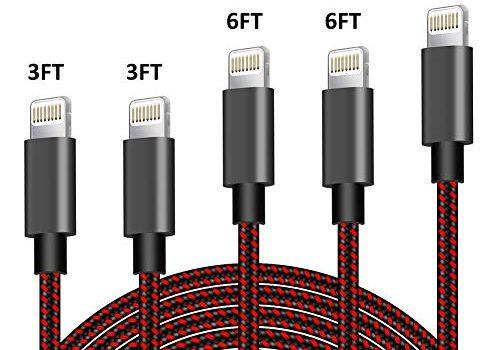 TNSO Phone Ladekabel, 5Pack 3/3/6/6/10 FT Nylon Phone Kabel MFi Zertifiziert für iPhone XS/XS MAX/XR/8/8 plus/7/7 plus, iPad Air