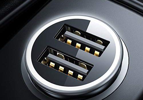 DIVI Zigarettenanzünder USB Ladegerät, Metall Mini Auto Ladegerät Monitor Spannung KFZ Ladeadapter 4.8A/24W Dual USB Auto Adapter für iPhone X/XS, Huawei P30, Samsung S10/S9, iPad Und Mehr-Schwarz