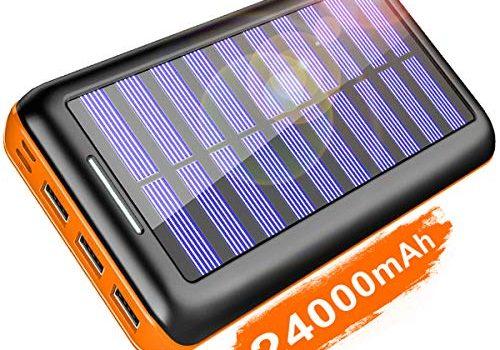 KEDRON Externer Akku 24000mAh Solar Powerbank, Solar Ladegerät mit 3 Ausgänge und Lighting & Micro 2 Eingänge Power Bank Handy für Smartphones